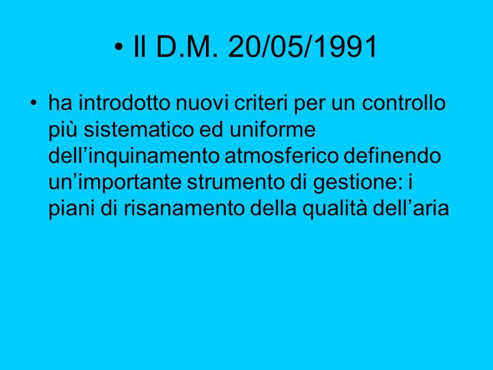 Il D.M. 20/05/1991 ha introdotto nuovi criteri per un controllo più sistematico ed uniforme dellinquinamento atmosferico definendo unimportante strume