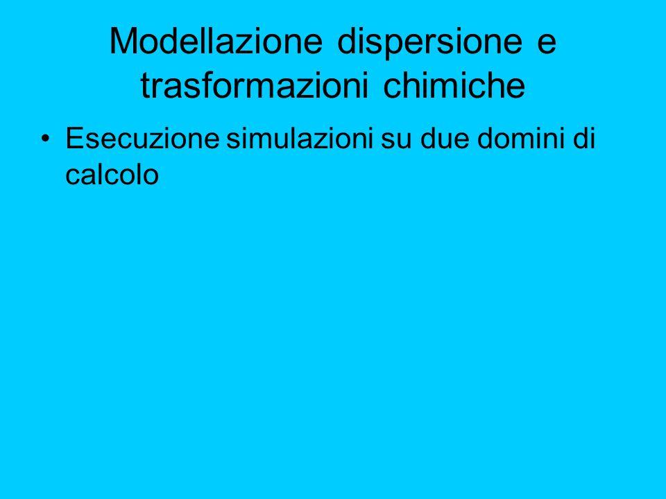 Modellazione dispersione e trasformazioni chimiche Esecuzione simulazioni su due domini di calcolo