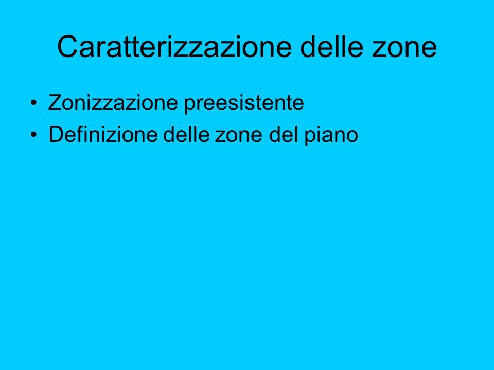 Caratterizzazione delle zone Zonizzazione preesistente Definizione delle zone del piano