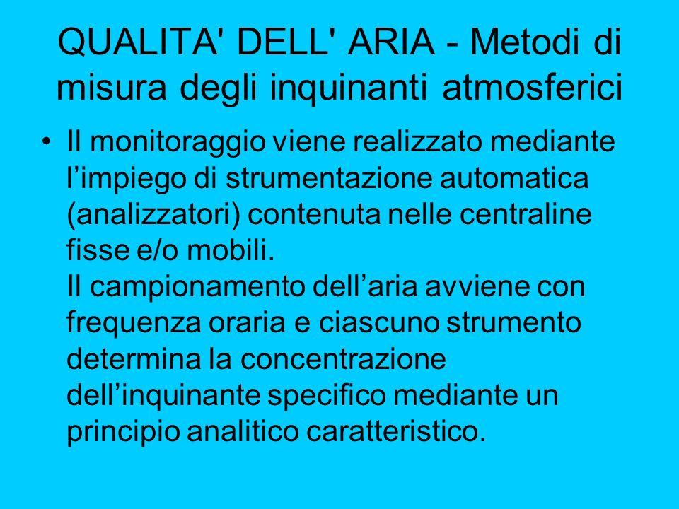 QUALITA' DELL' ARIA - Metodi di misura degli inquinanti atmosferici Il monitoraggio viene realizzato mediante limpiego di strumentazione automatica (a