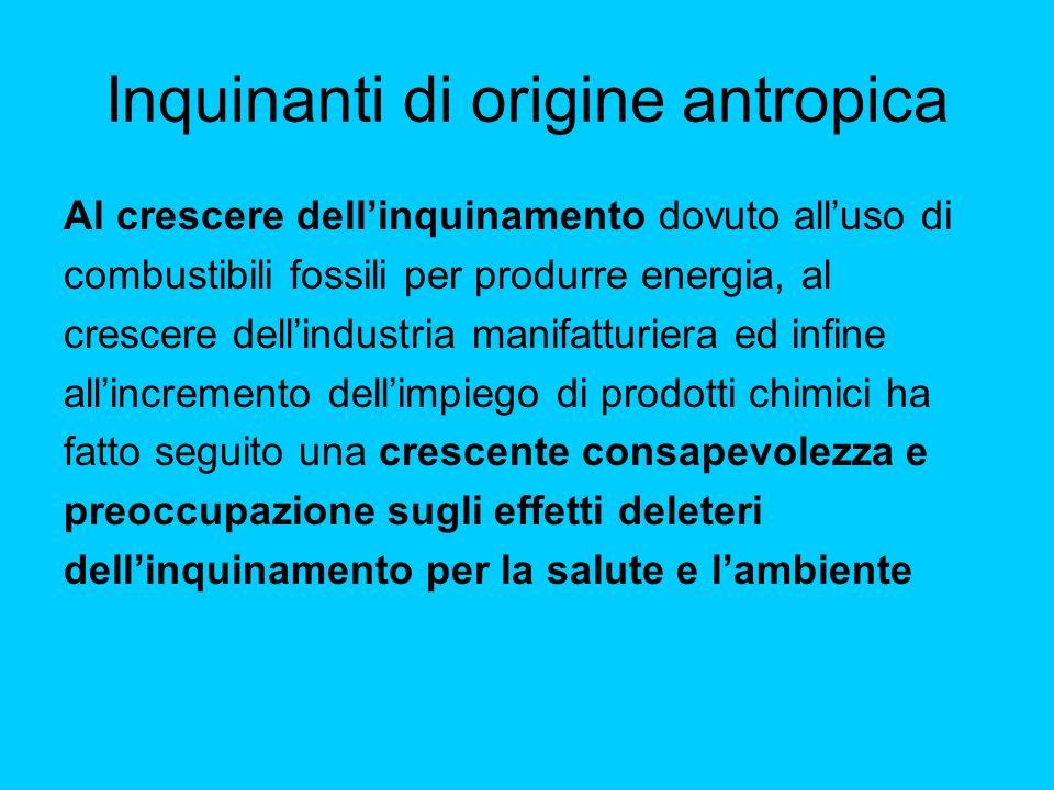 Inquinanti di origine antropica Al crescere dellinquinamento dovuto alluso di combustibili fossili per produrre energia, al crescere dellindustria man