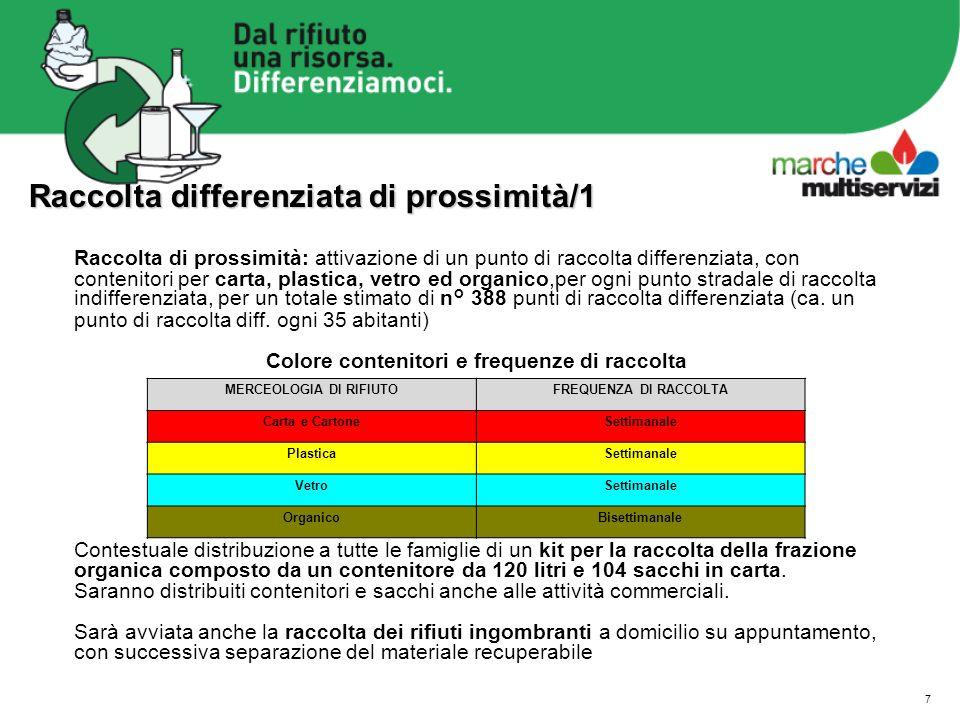 7 Raccolta differenziata di prossimità/1 Raccolta di prossimità: attivazione di un punto di raccolta differenziata, con contenitori per carta, plastic