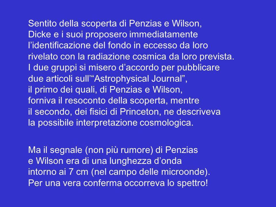Sentito della scoperta di Penzias e Wilson, Dicke e i suoi proposero immediatamente lidentificazione del fondo in eccesso da loro rivelato con la radi