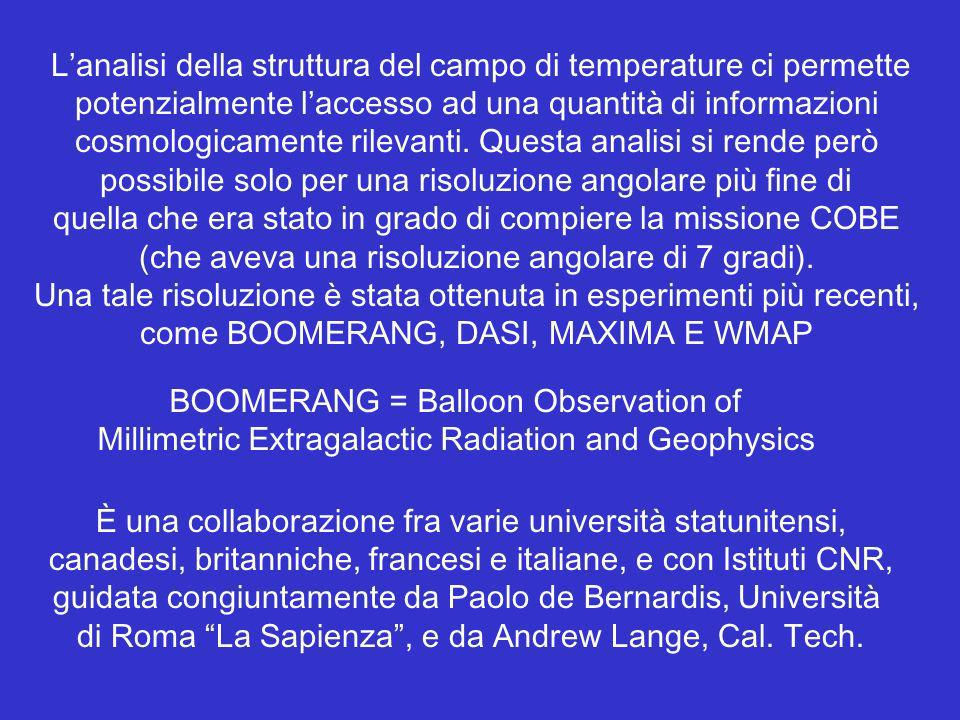 Lanalisi della struttura del campo di temperature ci permette potenzialmente laccesso ad una quantità di informazioni cosmologicamente rilevanti. Ques