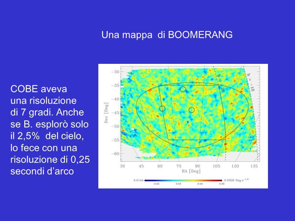 Una mappa di BOOMERANG COBE aveva una risoluzione di 7 gradi. Anche se B. esplorò solo il 2,5% del cielo, lo fece con una risoluzione di 0,25 secondi