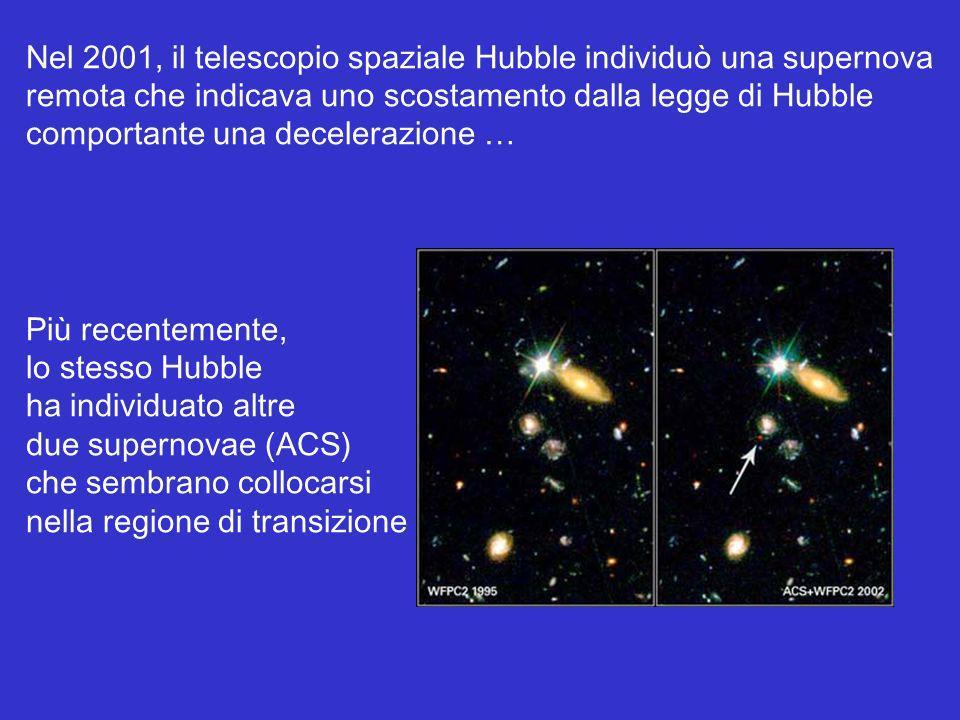 Nel 2001, il telescopio spaziale Hubble individuò una supernova remota che indicava uno scostamento dalla legge di Hubble comportante una decelerazion