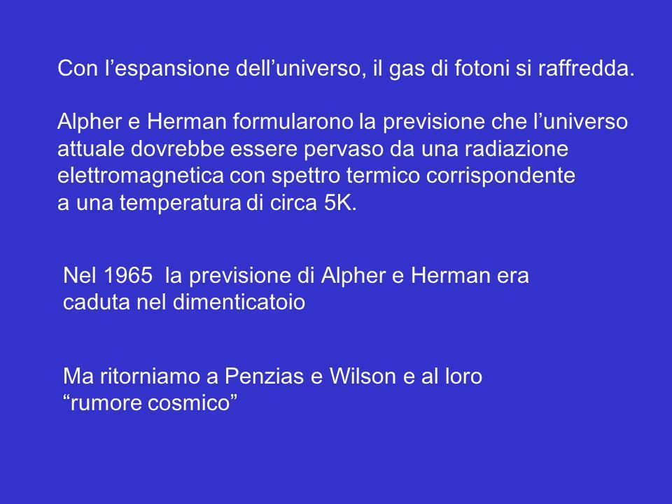 Con lespansione delluniverso, il gas di fotoni si raffredda. Alpher e Herman formularono la previsione che luniverso attuale dovrebbe essere pervaso d