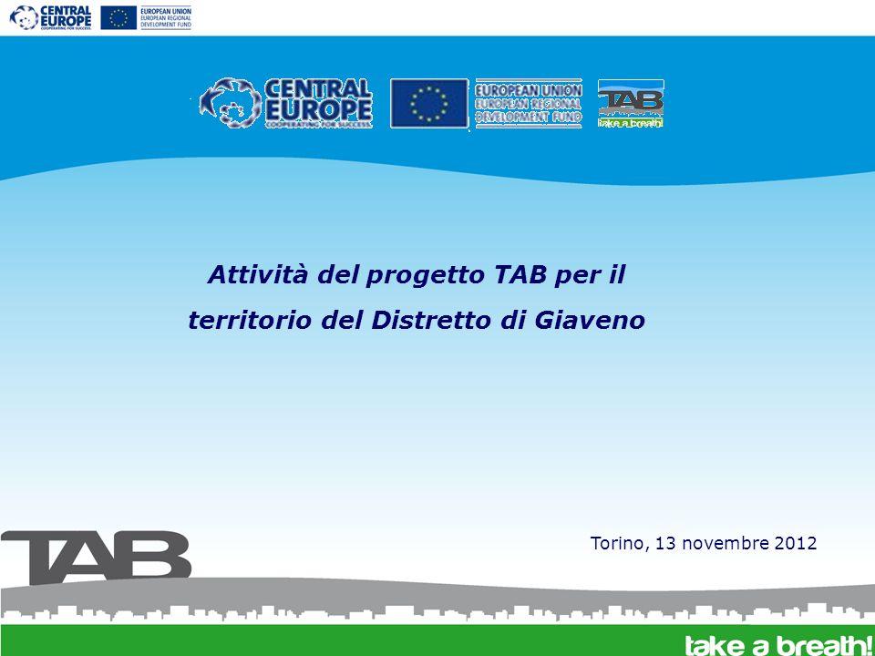 Attività del progetto TAB per il territorio del Distretto di Giaveno Torino, 13 novembre 2012