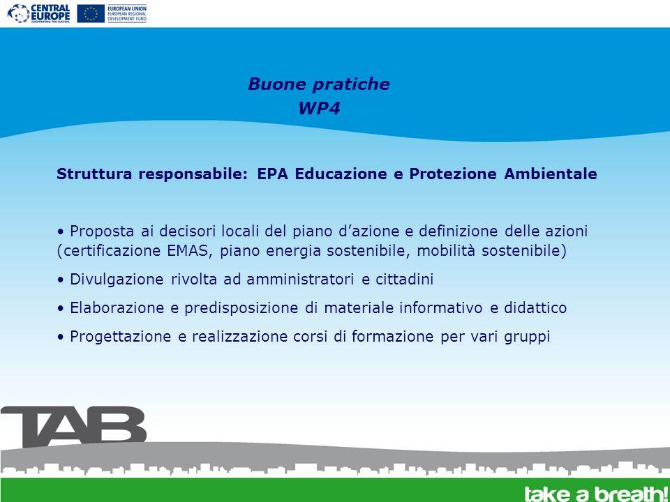 Buone pratiche WP4 Struttura responsabile: EPA Educazione e Protezione Ambientale Proposta ai decisori locali del piano dazione e definizione delle az