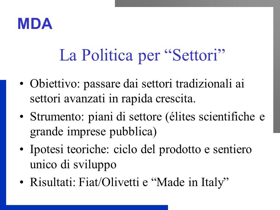 MDA La Politica per Settori Obiettivo: passare dai settori tradizionali ai settori avanzati in rapida crescita.