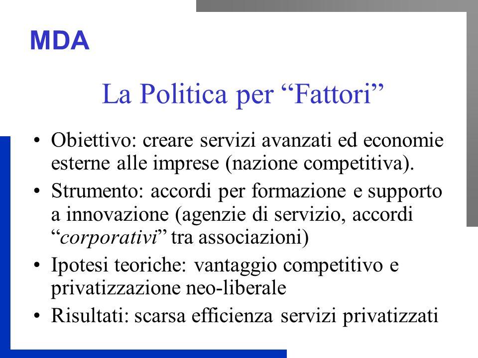 MDA La Politica per Fattori Obiettivo: creare servizi avanzati ed economie esterne alle imprese (nazione competitiva).