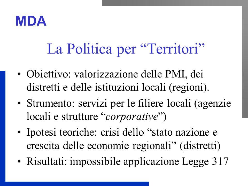 MDA La Politica per Territori Obiettivo: valorizzazione delle PMI, dei distretti e delle istituzioni locali (regioni).