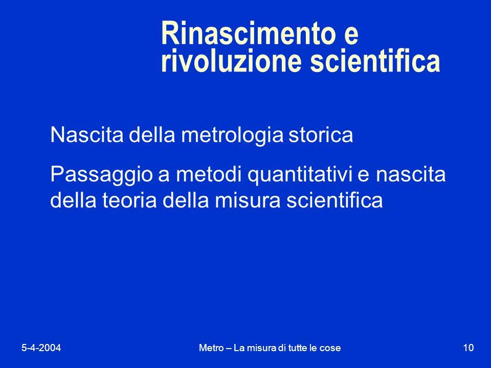 5-4-2004Metro – La misura di tutte le cose10 Rinascimento e rivoluzione scientifica Nascita della metrologia storica Passaggio a metodi quantitativi e nascita della teoria della misura scientifica