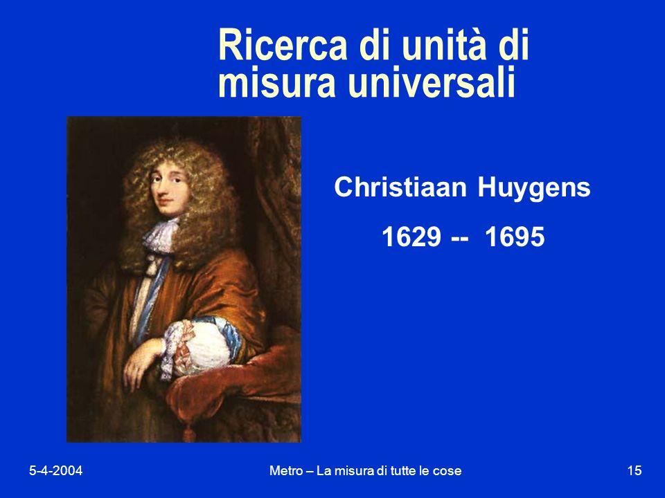 5-4-2004Metro – La misura di tutte le cose15 Ricerca di unità di misura universali Christiaan Huygens 1629 -- 1695