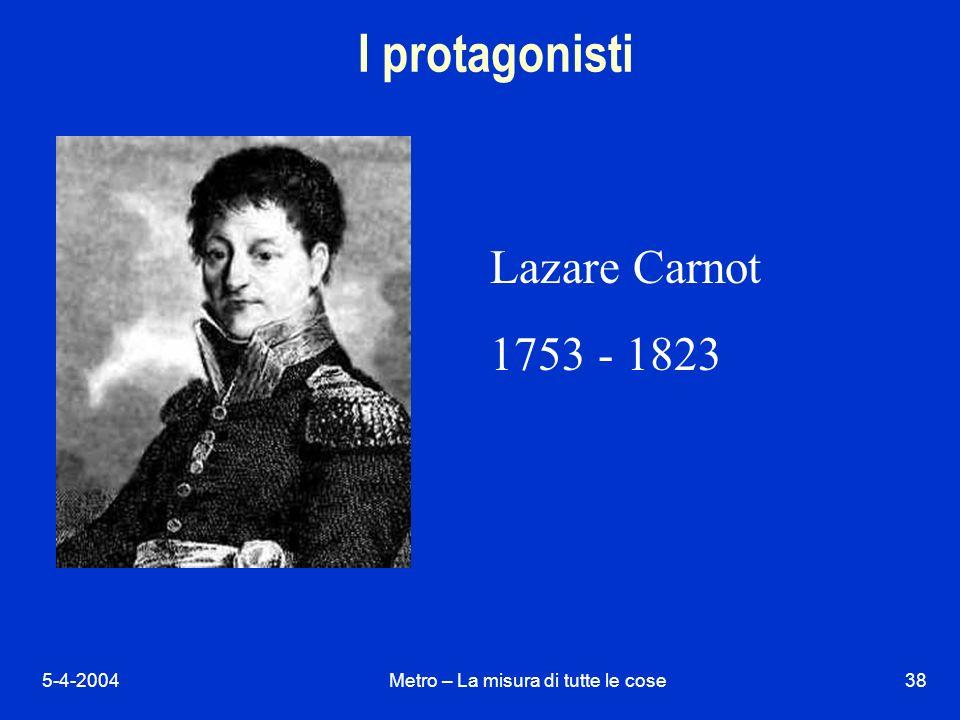 5-4-2004Metro – La misura di tutte le cose38 I protagonisti Lazare Carnot 1753 - 1823