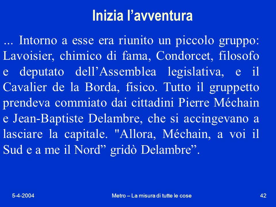 5-4-2004Metro – La misura di tutte le cose42 Inizia lavventura … Intorno a esse era riunito un piccolo gruppo: Lavoisier, chimico di fama, Condorcet, filosofo e deputato dellAssemblea legislativa, e il Cavalier de la Borda, fisico.