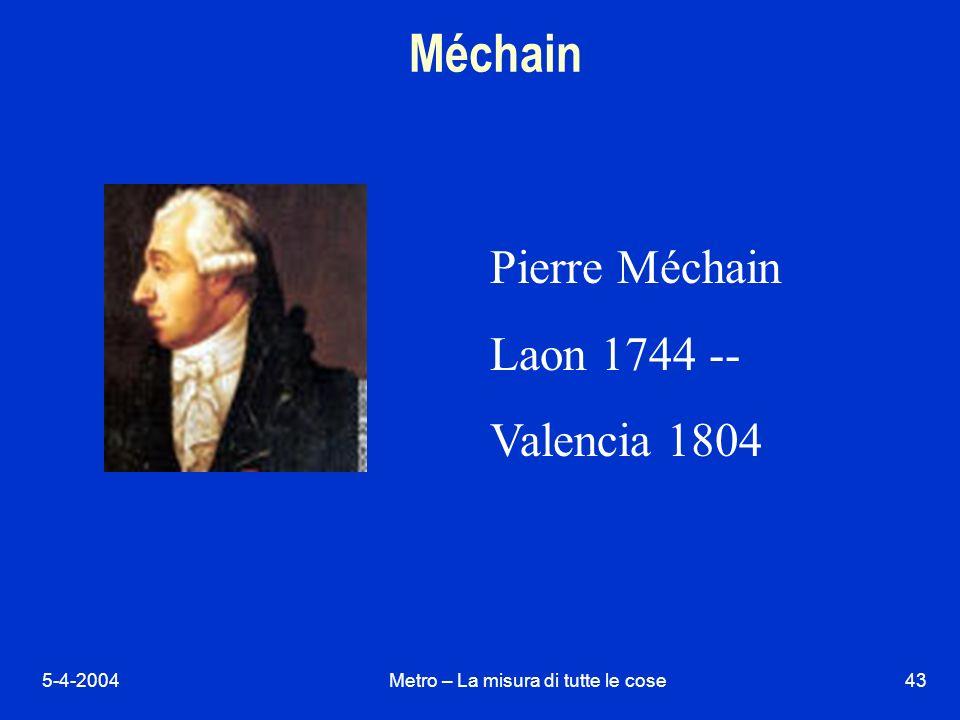 5-4-2004Metro – La misura di tutte le cose43 Méchain Pierre Méchain Laon 1744 -- Valencia 1804