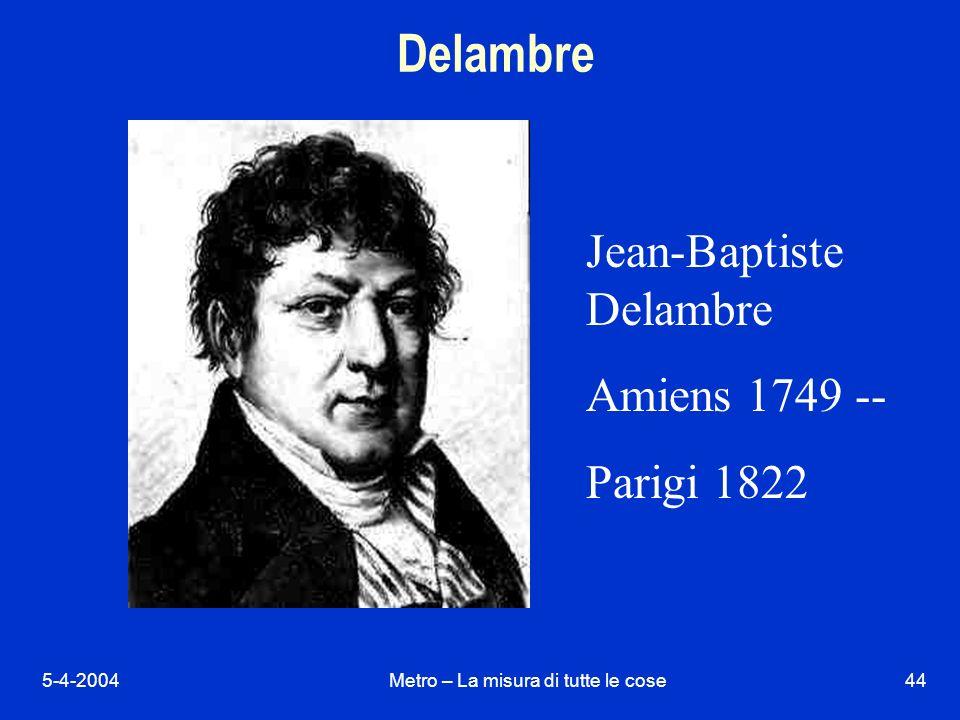 5-4-2004Metro – La misura di tutte le cose44 Delambre Jean-Baptiste Delambre Amiens 1749 -- Parigi 1822
