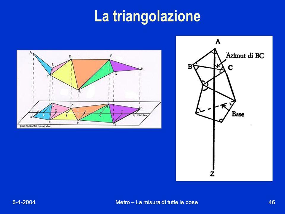 5-4-2004Metro – La misura di tutte le cose46 La triangolazione