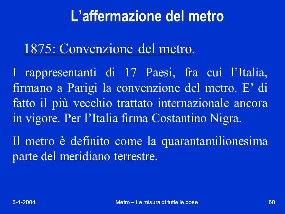 5-4-2004Metro – La misura di tutte le cose60 Laffermazione del metro 1875: Convenzione del metro.