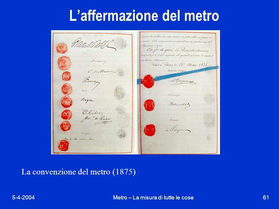 5-4-2004Metro – La misura di tutte le cose61 Laffermazione del metro La convenzione del metro (1875)