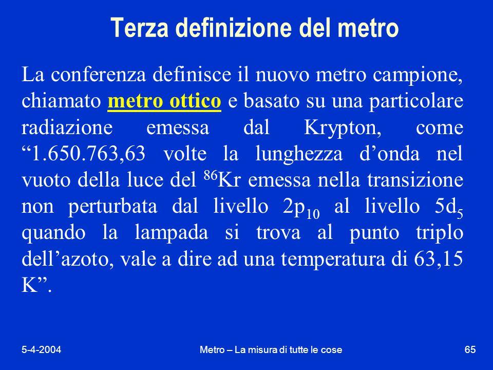 5-4-2004Metro – La misura di tutte le cose65 Terza definizione del metro La conferenza definisce il nuovo metro campione, chiamato metro ottico e basato su una particolare radiazione emessa dal Krypton, come 1.650.763,63 volte la lunghezza donda nel vuoto della luce del 86 Kr emessa nella transizione non perturbata dal livello 2p 10 al livello 5d 5 quando la lampada si trova al punto triplo dellazoto, vale a dire ad una temperatura di 63,15 K.
