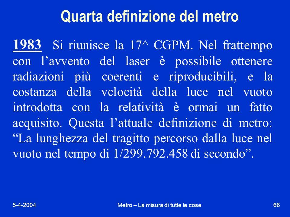 5-4-2004Metro – La misura di tutte le cose66 Quarta definizione del metro 1983 Si riunisce la 17^ CGPM.
