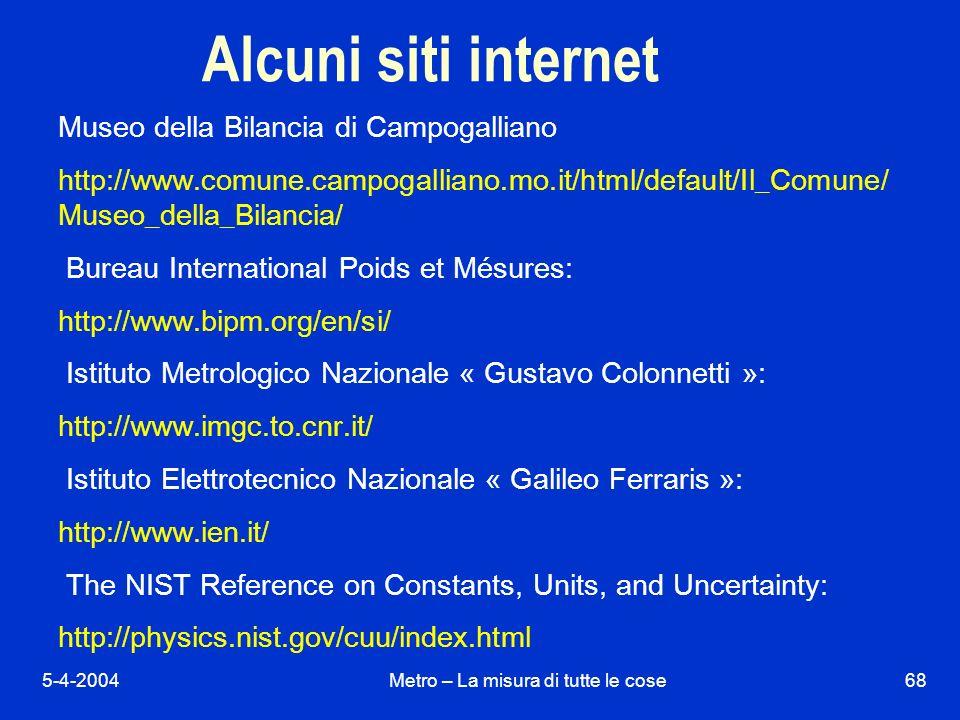 5-4-2004Metro – La misura di tutte le cose68 Alcuni siti internet Museo della Bilancia di Campogalliano http://www.comune.campogalliano.mo.it/html/default/Il_Comune/ Museo_della_Bilancia/ Bureau International Poids et Mésures: http://www.bipm.org/en/si/ Istituto Metrologico Nazionale « Gustavo Colonnetti »: http://www.imgc.to.cnr.it/ Istituto Elettrotecnico Nazionale « Galileo Ferraris »: http://www.ien.it/ The NIST Reference on Constants, Units, and Uncertainty: http://physics.nist.gov/cuu/index.html