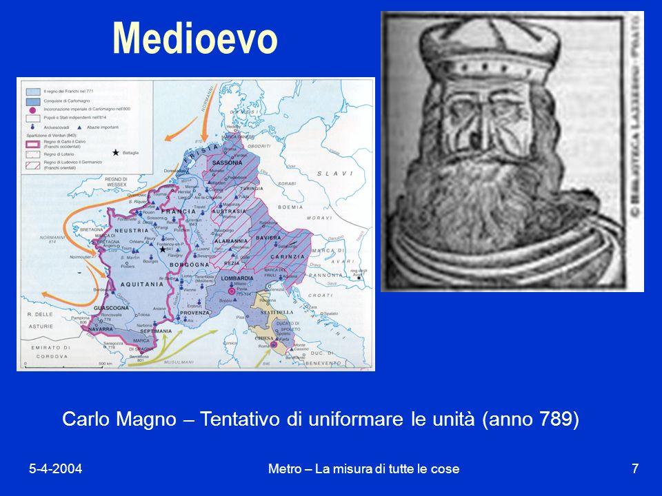 5-4-2004Metro – La misura di tutte le cose7 Carlo Magno – Tentativo di uniformare le unità (anno 789) Medioevo