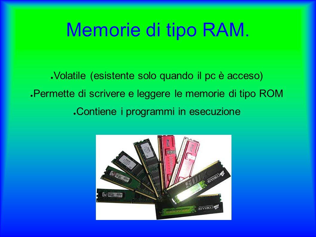 Memorie di tipo ROM.Read Only Memory (Memoria di sola lettura).