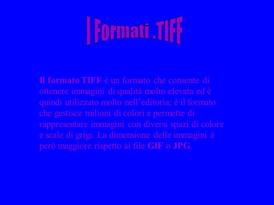 Il formato TIFF è un formato che consente di ottenere immagini di qualità molto elevata ed è quindi utilizzato molto nelleditoria; è il formato che ge