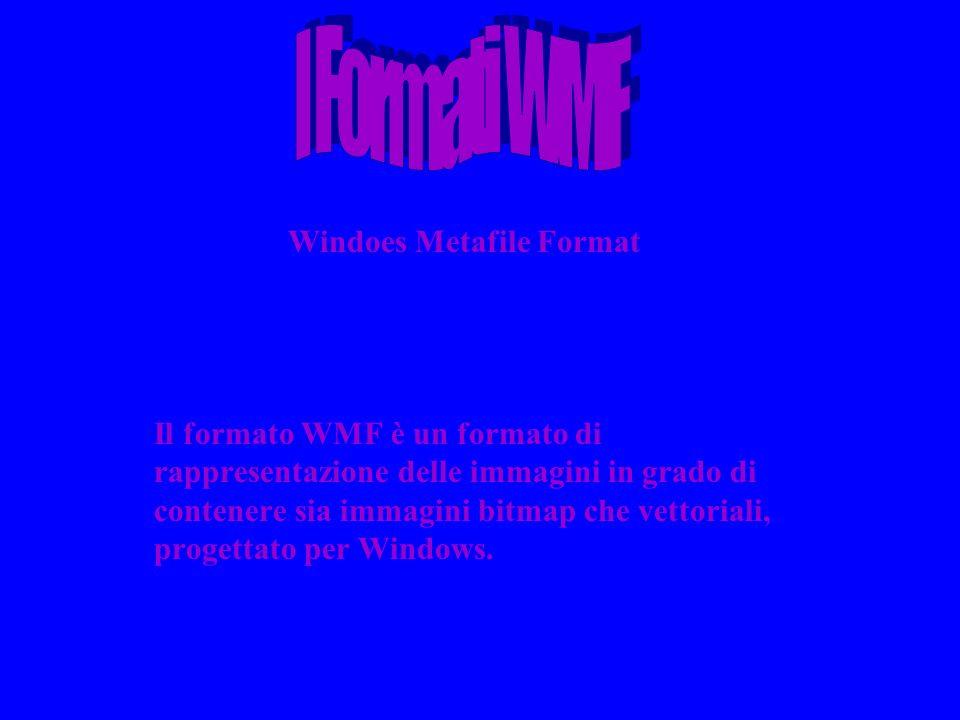 Windoes Metafile Format Il formato WMF è un formato di rappresentazione delle immagini in grado di contenere sia immagini bitmap che vettoriali, proge