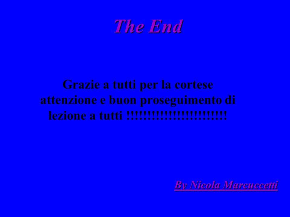 The End Grazie a tutti per la cortese attenzione e buon proseguimento di lezione a tutti !!!!!!!!!!!!!!!!!!!!!!!! By Nicola Marcuccetti