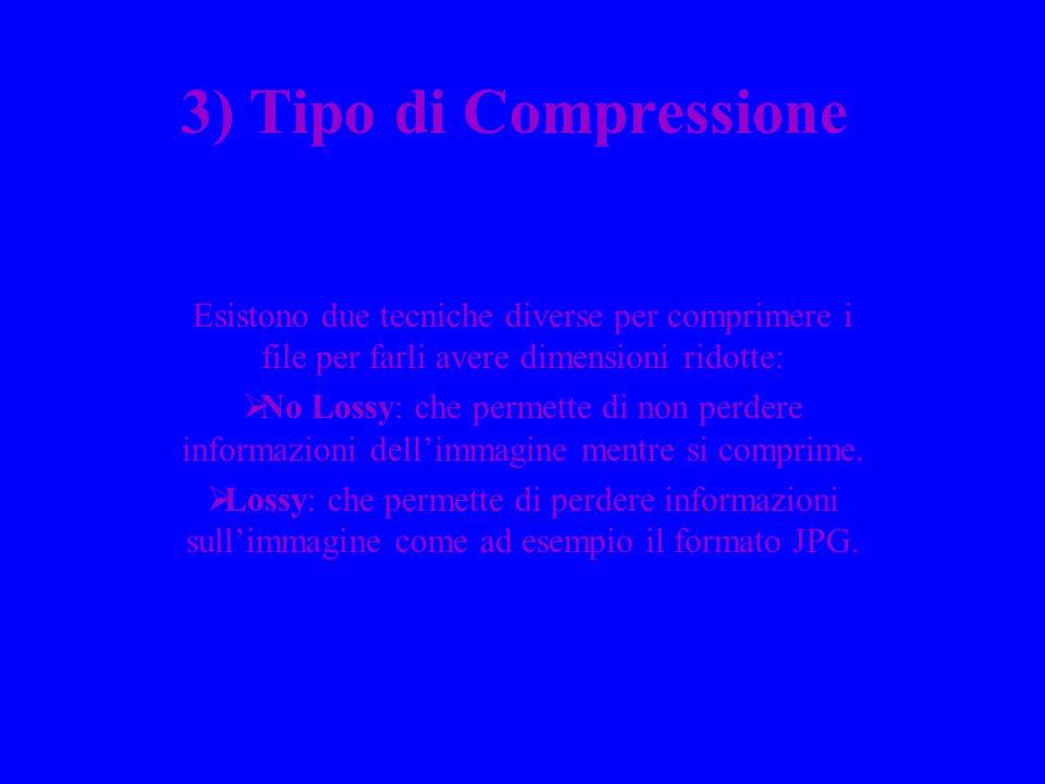 3) Tipo di Compressione Esistono due tecniche diverse per comprimere i file per farli avere dimensioni ridotte: No Lossy: che permette di non perdere