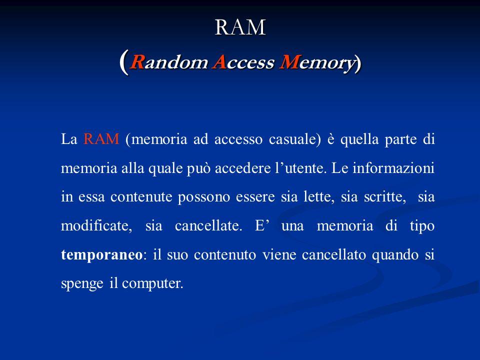 Memoria centrale La memoria centrale o principale è ununità interna al computer in grado di conservare delle informazioni. Si divide in: RAM; ROM.