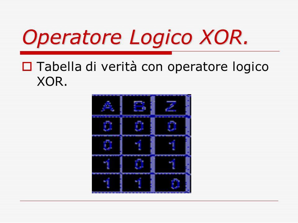 Operatore Logico XOR. Tabella di verità con operatore logico XOR.