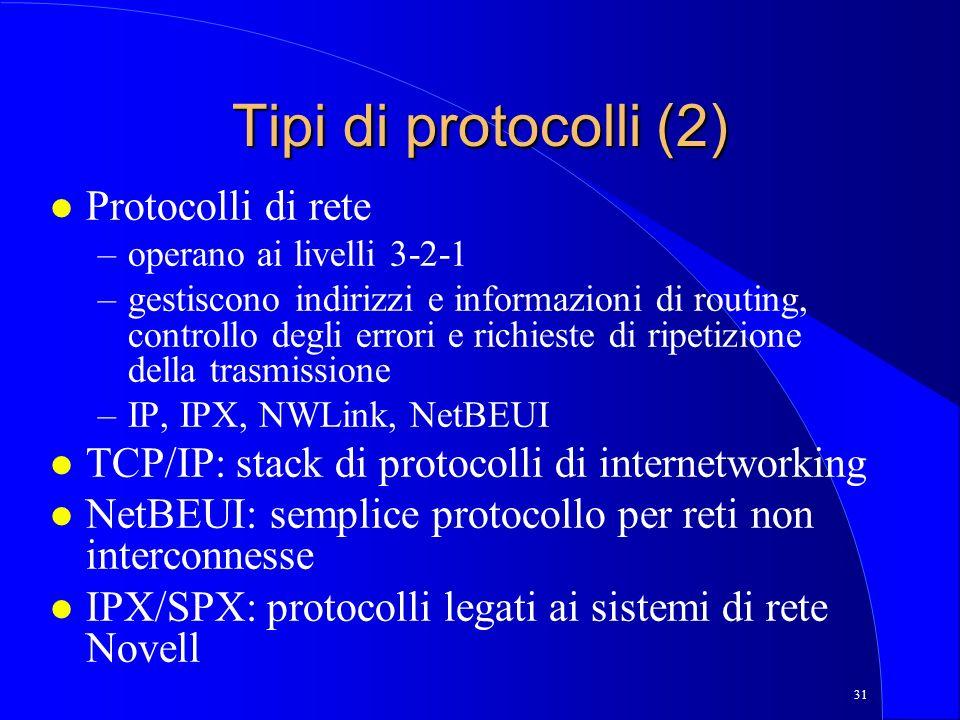 31 Tipi di protocolli (2) l Protocolli di rete –operano ai livelli 3-2-1 –gestiscono indirizzi e informazioni di routing, controllo degli errori e richieste di ripetizione della trasmissione –IP, IPX, NWLink, NetBEUI l TCP/IP: stack di protocolli di internetworking l NetBEUI: semplice protocollo per reti non interconnesse l IPX/SPX: protocolli legati ai sistemi di rete Novell