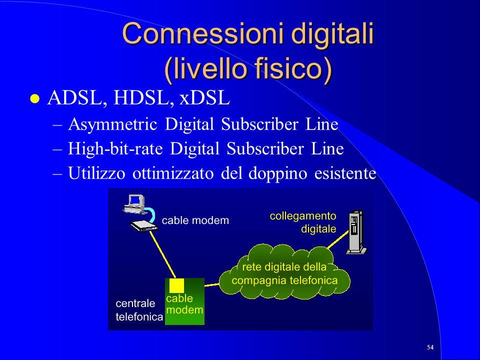 54 Connessioni digitali (livello fisico) l ADSL, HDSL, xDSL –Asymmetric Digital Subscriber Line –High-bit-rate Digital Subscriber Line –Utilizzo ottimizzato del doppino esistente