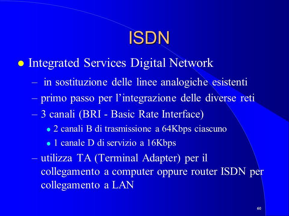 60 ISDN l Integrated Services Digital Network – in sostituzione delle linee analogiche esistenti –primo passo per lintegrazione delle diverse reti –3 canali (BRI - Basic Rate Interface) l 2 canali B di trasmissione a 64Kbps ciascuno l 1 canale D di servizio a 16Kbps –utilizza TA (Terminal Adapter) per il collegamento a computer oppure router ISDN per collegamento a LAN