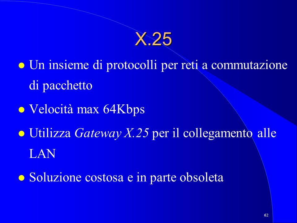 62 X.25 l Un insieme di protocolli per reti a commutazione di pacchetto l Velocità max 64Kbps l Utilizza Gateway X.25 per il collegamento alle LAN l Soluzione costosa e in parte obsoleta