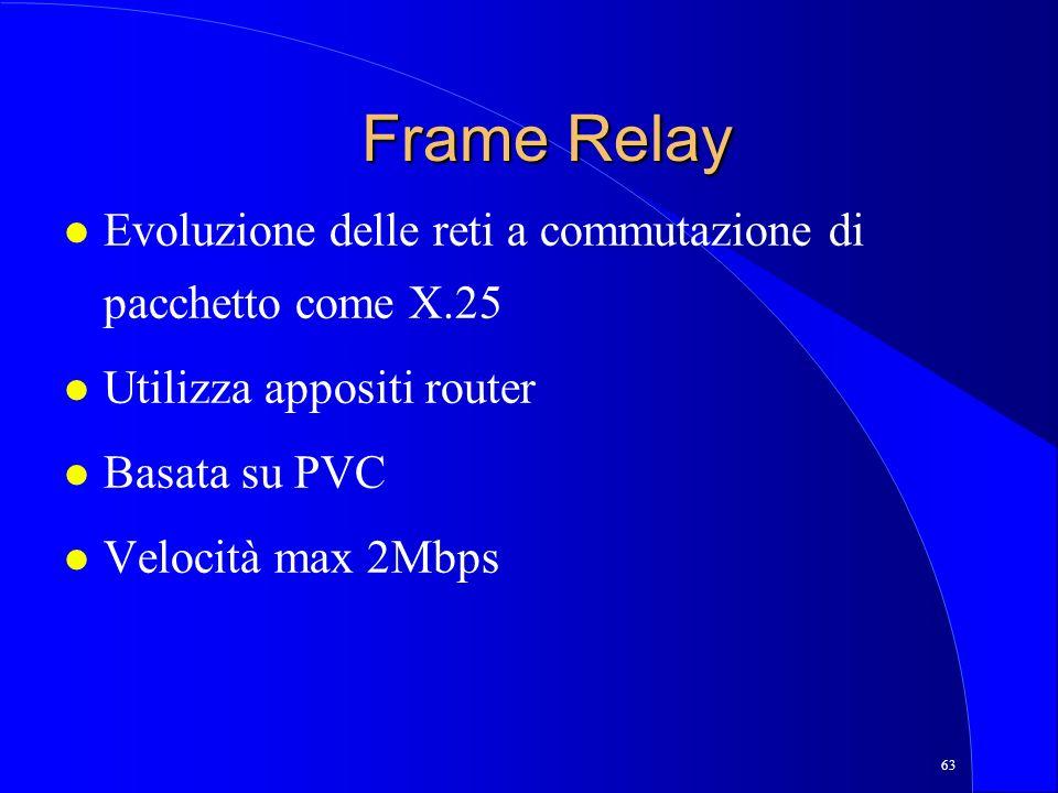 63 Frame Relay l Evoluzione delle reti a commutazione di pacchetto come X.25 l Utilizza appositi router l Basata su PVC l Velocità max 2Mbps