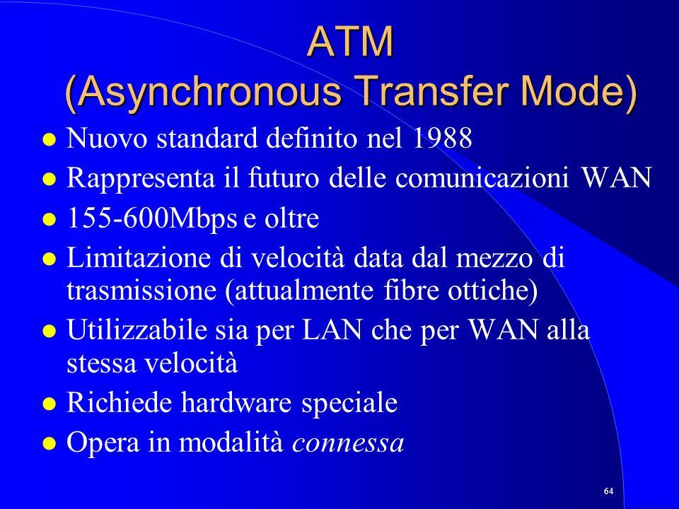 64 ATM (Asynchronous Transfer Mode) l Nuovo standard definito nel 1988 l Rappresenta il futuro delle comunicazioni WAN l 155-600Mbps e oltre l Limitazione di velocità data dal mezzo di trasmissione (attualmente fibre ottiche) l Utilizzabile sia per LAN che per WAN alla stessa velocità l Richiede hardware speciale l Opera in modalità connessa