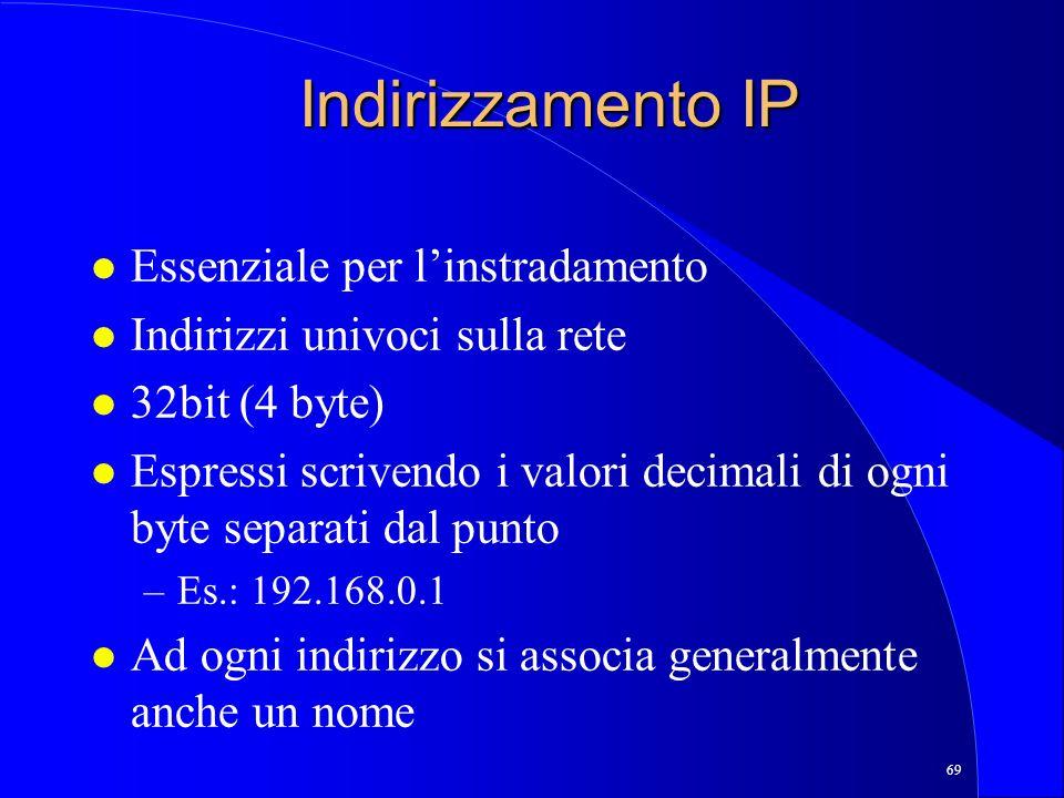 69 Indirizzamento IP l Essenziale per linstradamento l Indirizzi univoci sulla rete l 32bit (4 byte) l Espressi scrivendo i valori decimali di ogni byte separati dal punto –Es.: 192.168.0.1 l Ad ogni indirizzo si associa generalmente anche un nome