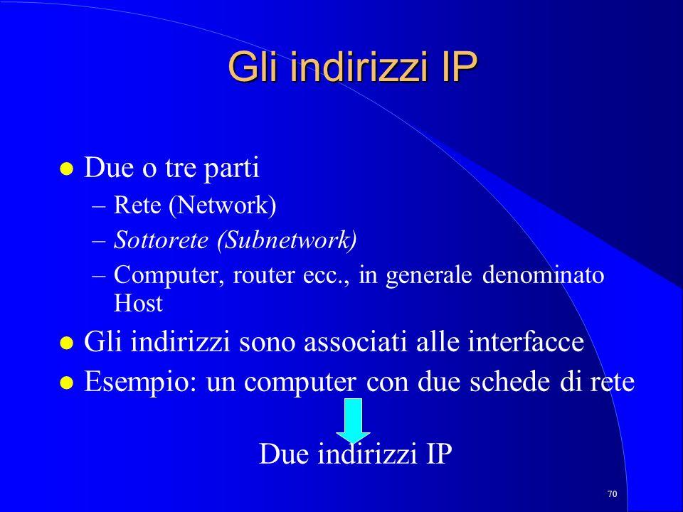 70 Gli indirizzi IP l Due o tre parti –Rete (Network) –Sottorete (Subnetwork) –Computer, router ecc., in generale denominato Host l Gli indirizzi sono associati alle interfacce l Esempio: un computer con due schede di rete Due indirizzi IP