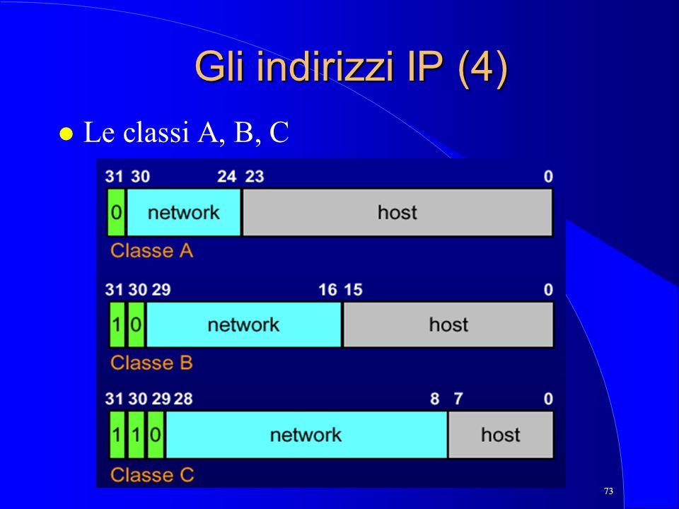 73 Gli indirizzi IP (4) l Le classi A, B, C