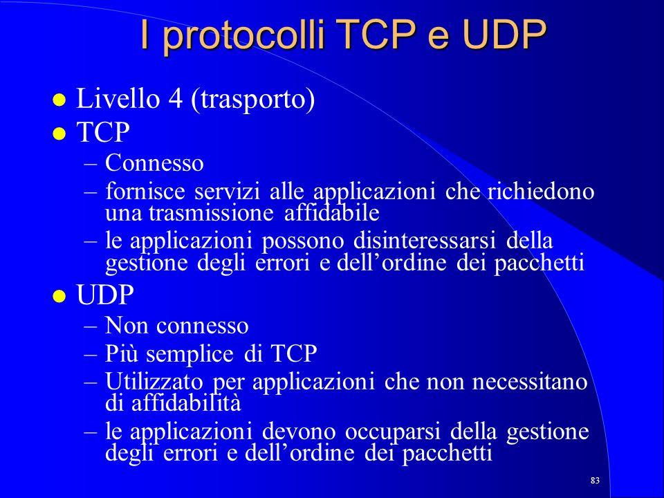 83 I protocolli TCP e UDP l Livello 4 (trasporto) l TCP –Connesso –fornisce servizi alle applicazioni che richiedono una trasmissione affidabile –le applicazioni possono disinteressarsi della gestione degli errori e dellordine dei pacchetti l UDP –Non connesso –Più semplice di TCP –Utilizzato per applicazioni che non necessitano di affidabilità –le applicazioni devono occuparsi della gestione degli errori e dellordine dei pacchetti