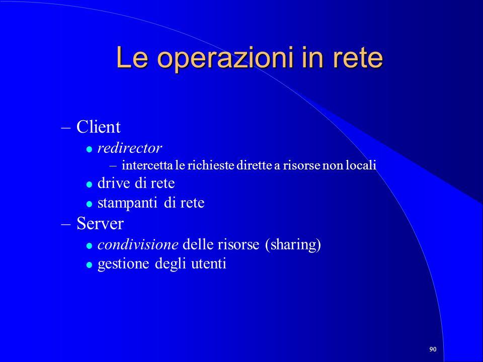 90 Le operazioni in rete –Client l redirector –intercetta le richieste dirette a risorse non locali l drive di rete l stampanti di rete –Server l condivisione delle risorse (sharing) l gestione degli utenti