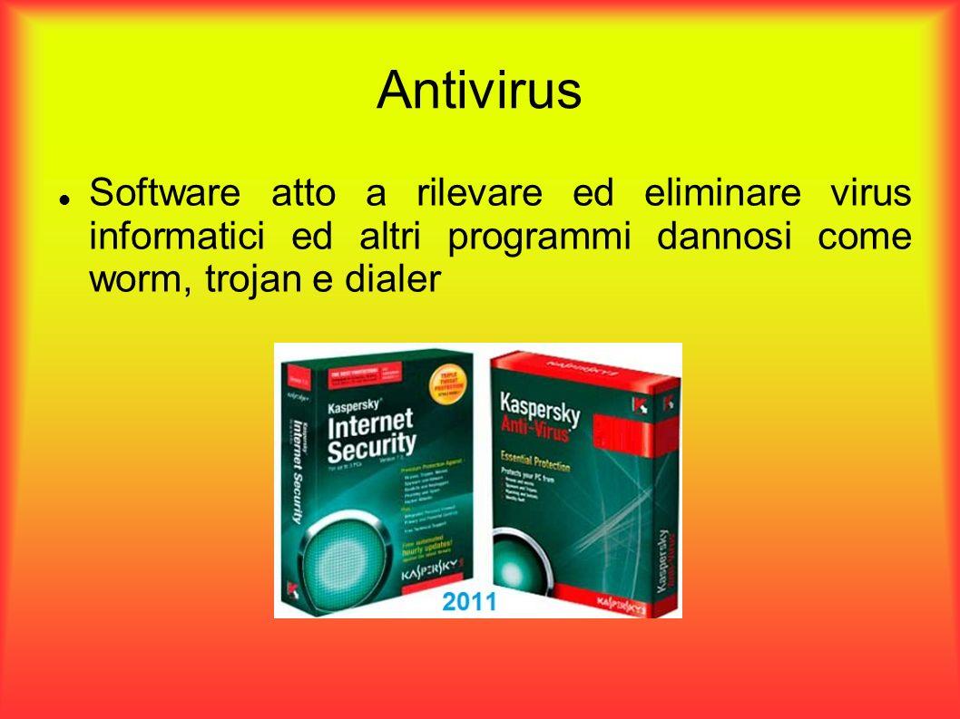 Funzionamento Essendo un virus, composto da un numero ben preciso di istruzioni (stringa di byte), l antivirus cerca se queste sequenze sono presenti nei file in memoria.