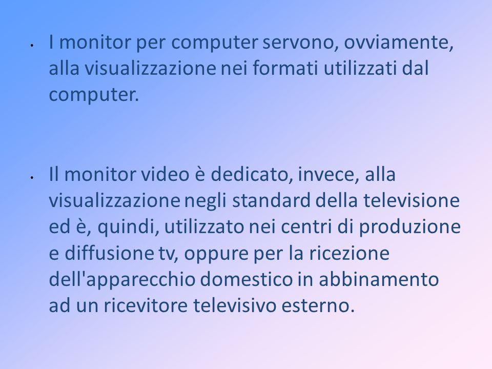 I monitor per computer servono, ovviamente, alla visualizzazione nei formati utilizzati dal computer. Il monitor video è dedicato, invece, alla visual
