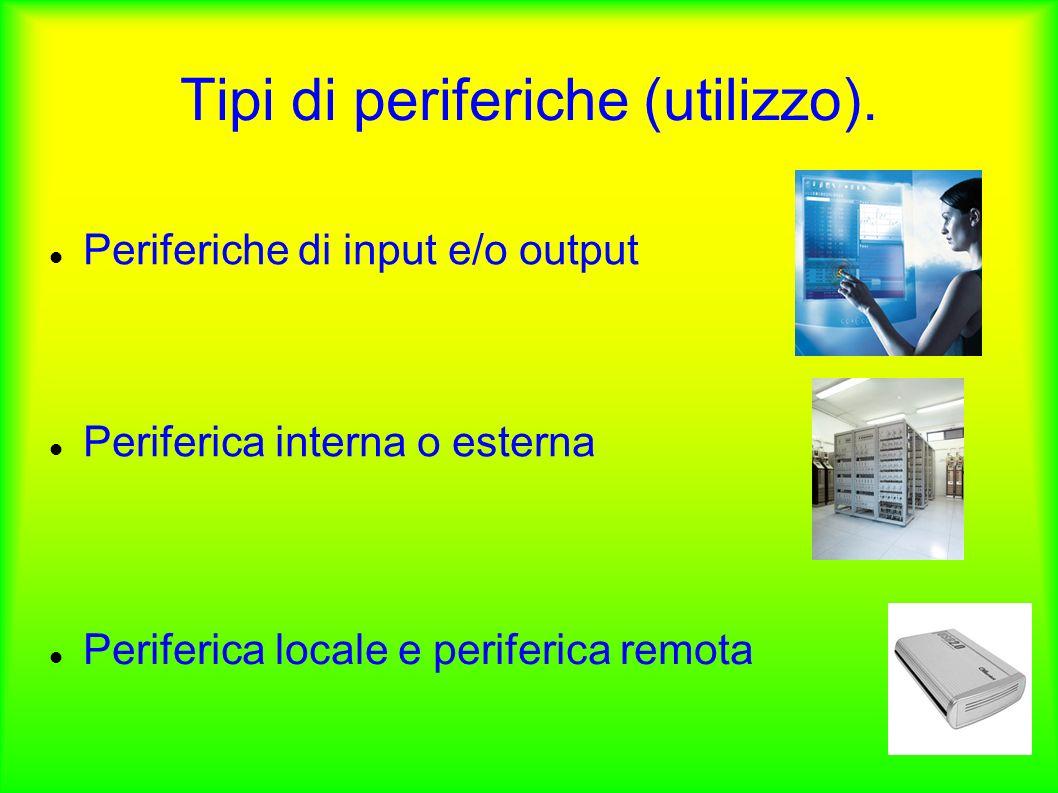 Tipi di periferiche (utilizzo). Periferiche di input e/o output Periferica interna o esterna Periferica locale e periferica remota